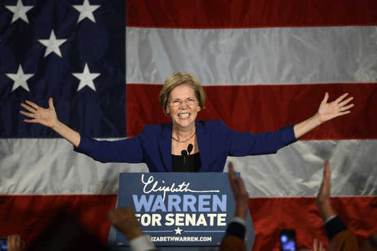 Warren addresses supporters during her victory rally in Boston