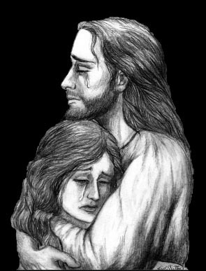 Jesus holding lady in tears