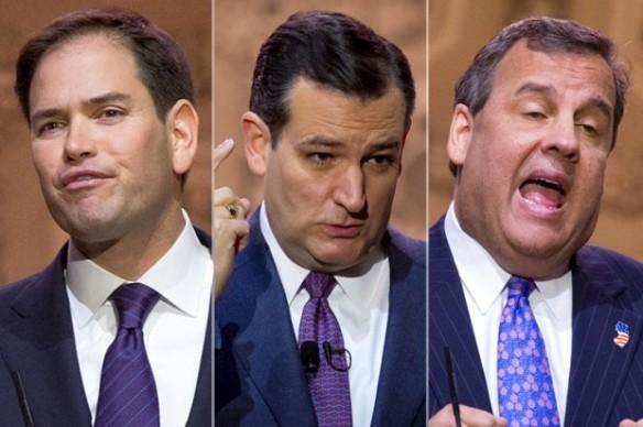 Marco Rubio, Ted Cruz, Chris Christie (Credit: Jeffrey Malet, maletphoto.com)