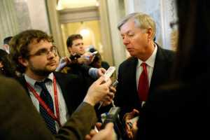 U.S. Senator Lindsey Graham talks to reporters at the U.S. Capitol in Washington