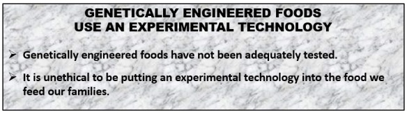 Genetic Engineered Food use Experimental Technology