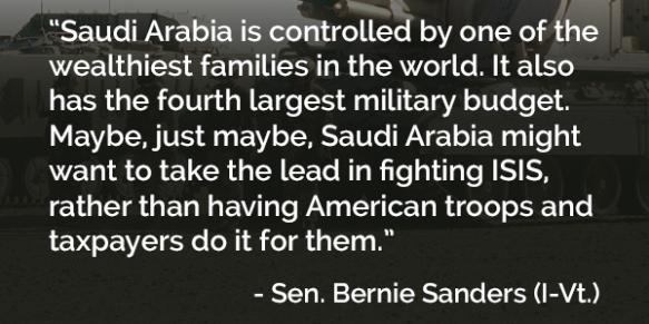 Bernie Sanders re Saudi Arabia